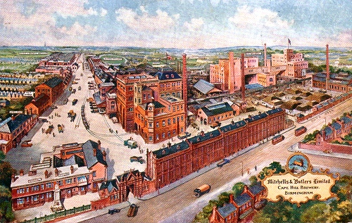 Photo 3 – Cape Hill Brewery. Mitchells & Butlers Brewery was formed when Henry Mitchell's old Crown Brewery (founded in Smethwick in 1866) merged with William Butler's Brewery (also founded in Smethwick in 1866) in 1898. Henry Mitchell had moved to the Cape Hill site in 1879 and this became the company's main brewing site.