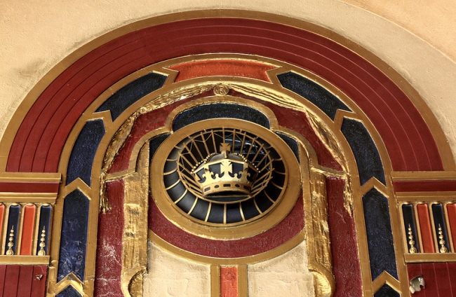 "Photo 4 – Interior of the Royalty Cinema in Harborne showing one of the ""high quality Art Deco"" features above a fire exit. The cinema opened in 1930 and closed in 1963. It was used as a bingo hall until 2011."