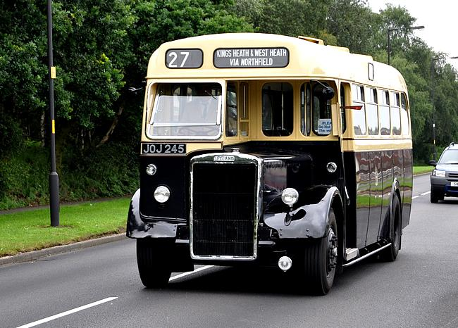 Photo 7 – Birmingham City Transport's Leyland PS1 single deck bus no 2245 now in preservation at Wythall Transport Museum. Shown here with the route number 27 which it worked for most of its life. The 27 ran from Kings Heath through Bournville to Northfield. It was the tunnel under the railway & canal in Bournville that meant only single deck buses could work the route.