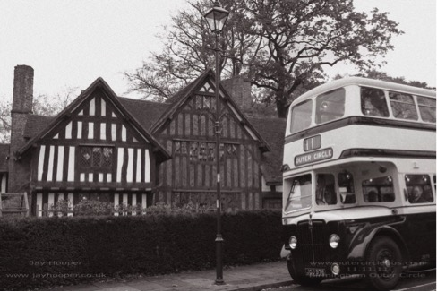 """Photo 1 - Selly Manor with the bus that we used for the original """"Outer Circle Historic Bus Tour on 11-11-11. [With thanks to Jay Hooper]"""