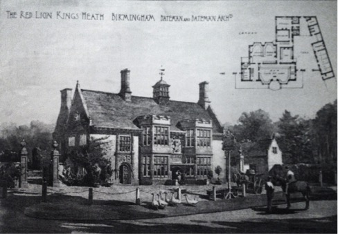 Photo 4 - The bucolic scene of a wandering gaggle of geese and a man on horseback envisaged by CE Bateman the architect in his architectural sketch of Ye Olde Red Lion. In the early 1890s, the Priory Trust owners of the land in this area asked Bateman to lay out a middle class suburb on its land, which at the time would have been at the very edge of Birmingham. The houses were designed in a variety of Arts and Crafts styles.