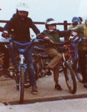 Stacey, right, on his beloved Super Burner, at Birmingham Wheels bike track with this friend Matty