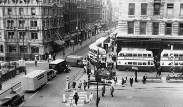 The junction of Old Square and Corporation Street before the building of the Priory Ringway.