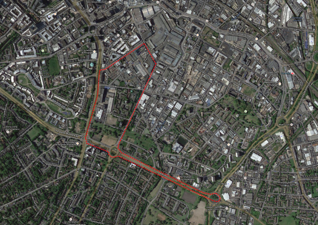Map of Birmingham 2015 with outline of the Superprix circuit