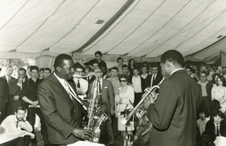 The late Andy Hamilton playing his saxophone at a jazz festival at Summerfield Park in 1965; Andy was greatly respected by Jake.