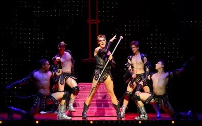 Adam Baily as Felicia and Boys - Priscilla Queen of the Desert - The Musical - Photo credit Paul Coltas